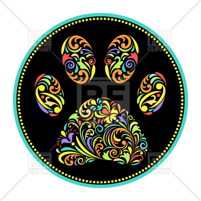 400x400 Colorful Paw Of An Animal In A Black Circle Royalty Free Vector