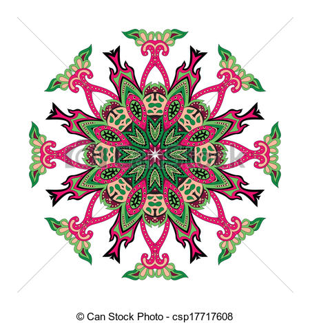 450x470 Paisley Flower. Round Vector Floral Ornament With Hearts Vector
