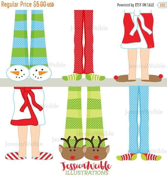 570x604 On Sale Christmas Pajama Feet Cute Digital Clipart, Christmas Clip