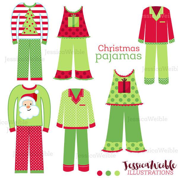 600x600 Christmas Pajamas Cute Digital Clipart Christmas Clip Art
