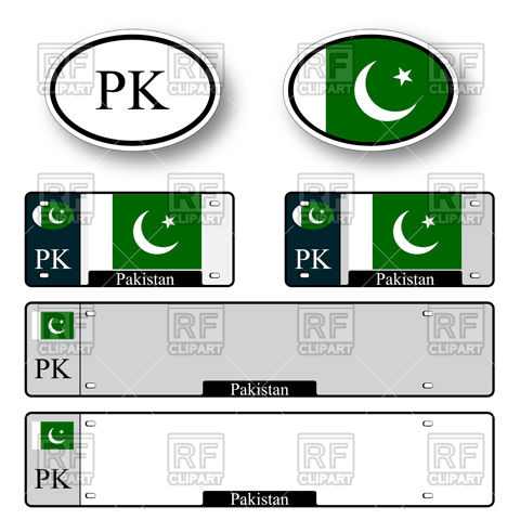 480x480 Template Of Car Plate Number With Flag Of Pakistan And Oval Bumper