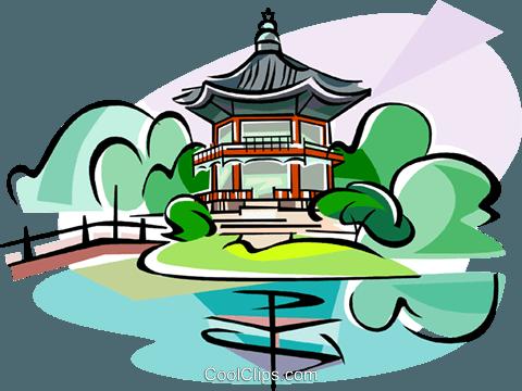 480x360 Korea Gyeongbok Palace Royalty Free Vector Clip Art Illustration