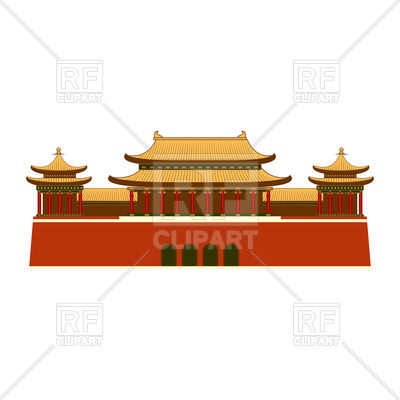 400x400 Palace With East Asian Roof Decoration Royalty Free Vector Clip