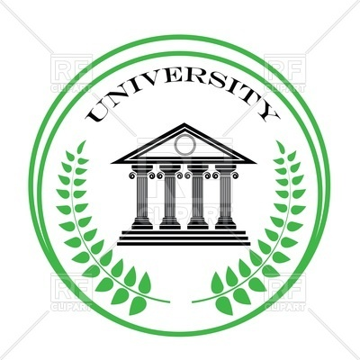 400x400 Round University Emblem With Ancient Greek Building And Palm