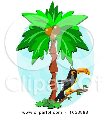 450x470 Clipart Of A Tropical Toucan Bird In A Palm Tree Over A Cocktail