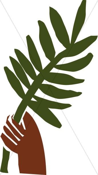 343x612 Hand Holding Palm Leaf Palm Sunday Clipart