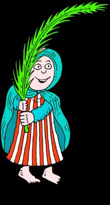 215x400 Image Woman Waving Palm Frond