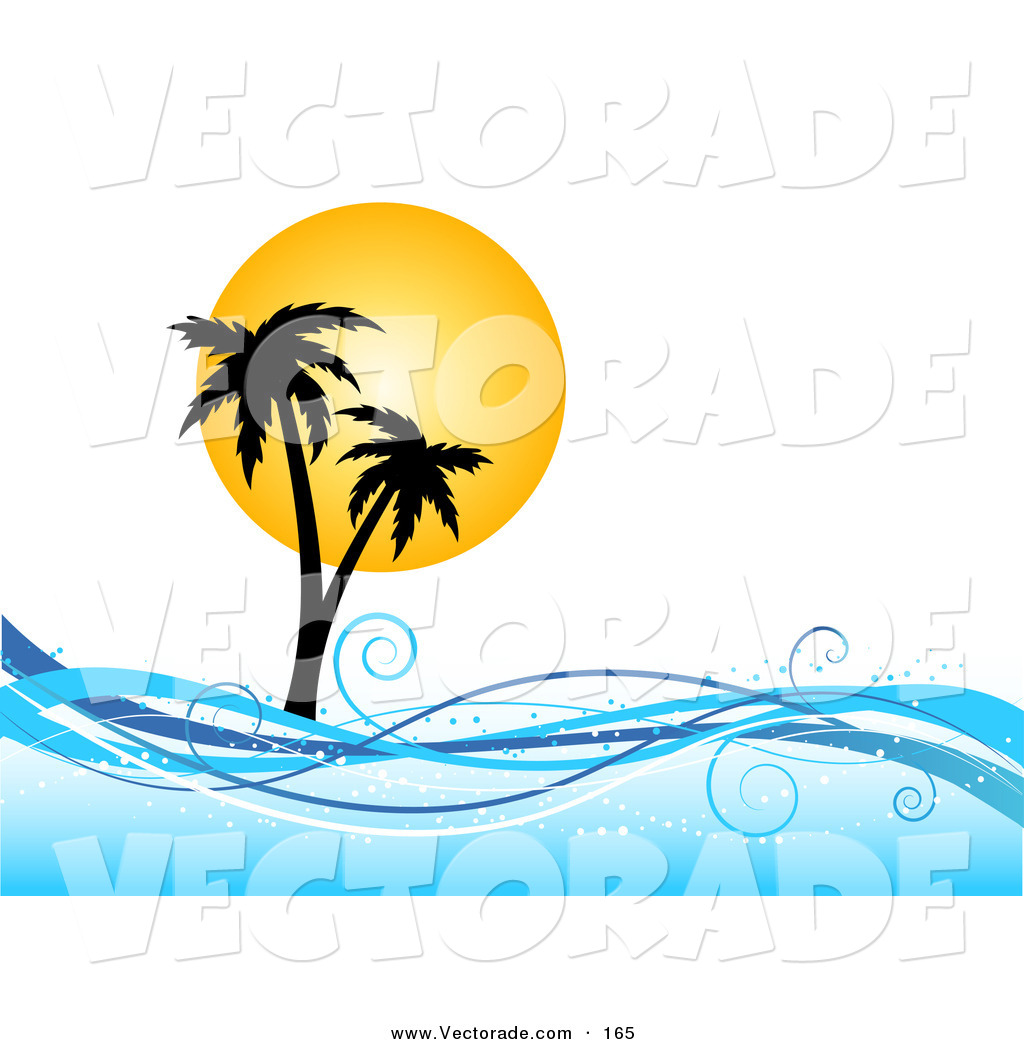 1024x1044 Vector Of A Yellow Sun Silhouetting Palm Trees On An Island,