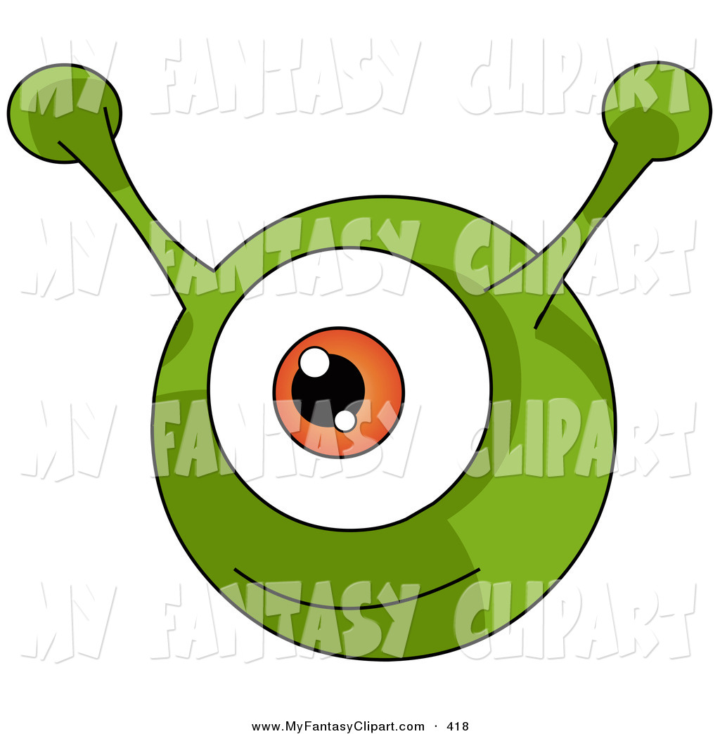 1024x1044 Clip Art Of A Happy And Smiling Green Round Alien With An Orange