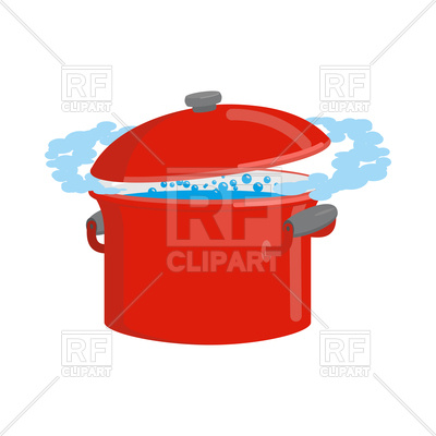400x400 Red Pan With Boiling Water Royalty Free Vector Clip Art Image