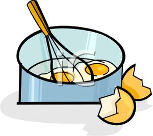 300x267 Clip Art Image Eggshells Next To A Wire Whisk Stirring Eggs In A Pan