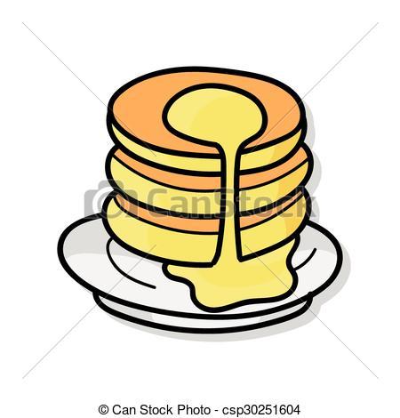 450x470 Pancake Doodle Vector Clipart
