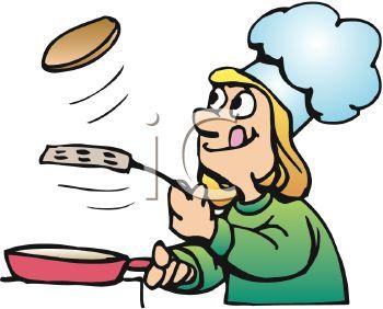 350x282 Royalty Free Clip Art Image Cartoon Of A Girl Making Pancakes