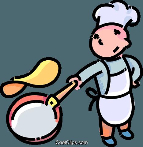 467x480 Boy Flipping A Pancake Royalty Free Vector Clip Art Illustration