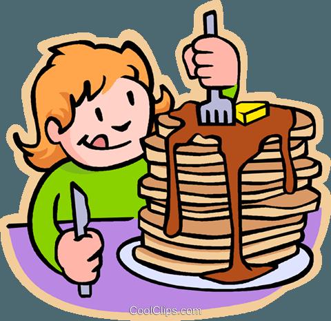 480x465 Girl Eating Pancakes Royalty Free Vector Clip Art Illustration