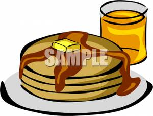 300x227 Art Image A Glass Of Orange Juice With Buttered And Syruped Pancakes