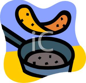 300x289 Clip Art Image A Pancake Flipping In A Frying Pan