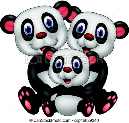 450x427 Vector Illustration Of Cartoon Panda Bear Family Eps Vector