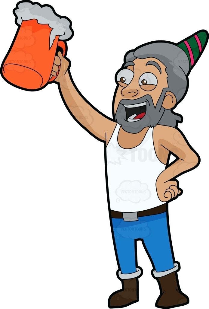 695x1024 Birthday Cliprt For Men Man Raising Beer Mug To Celebrate