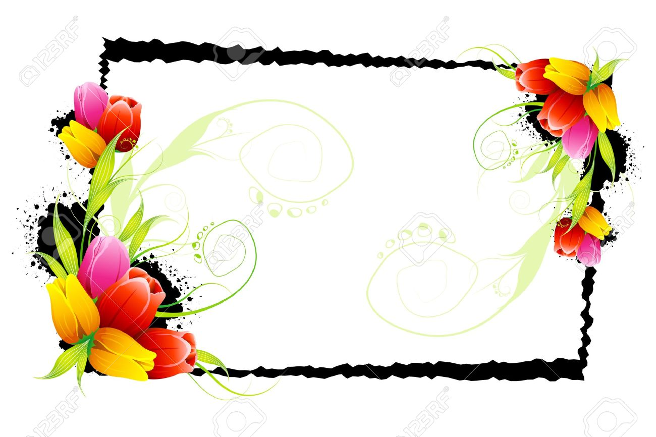 1300x866 Clipart Flower Borders And Frames Pansy Vintage Border Pencil