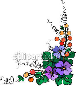 266x300 Pansies And Berries In A Floral Coner Design