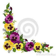 236x236 Pansy Flower Corner Border Clip Art Vector Art Corner