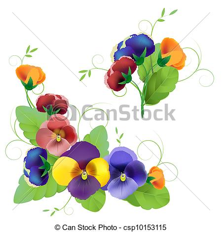 450x470 Set Of Gentle Floral With Pansy Vector Clip Art