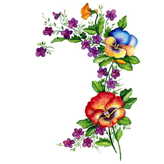 570x570 Watercolor Clip Art Pansies Flowers Clipart Bouquet