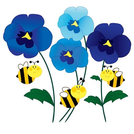 512x512 Blue Flower Clipart Bee Flower