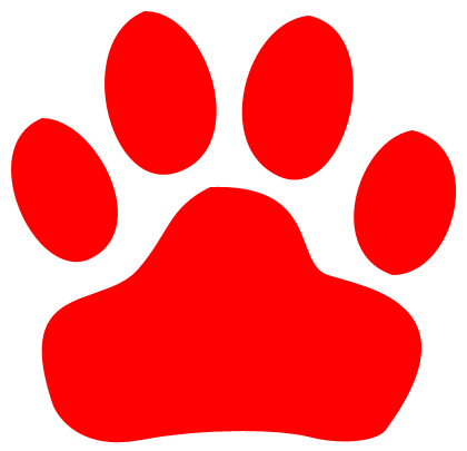 420x405 Red Paw Print Red Panther Paw Clipart Clip Art