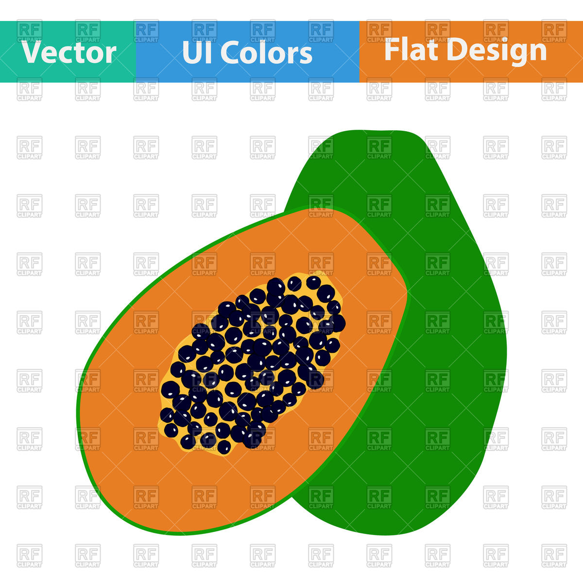 1200x1200 Papaya Royalty Free Vector Clip Art Image