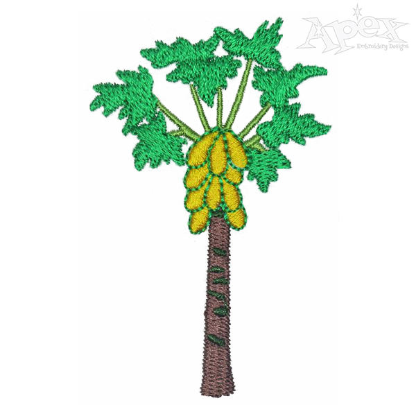 600x600 Papaya Tree Embroidery Design