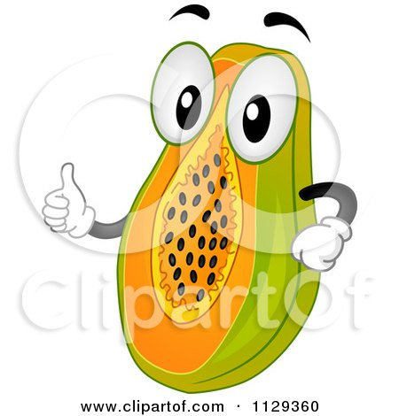 450x470 Cartoon Of A Papaya Mascot Holding A Thumb Up