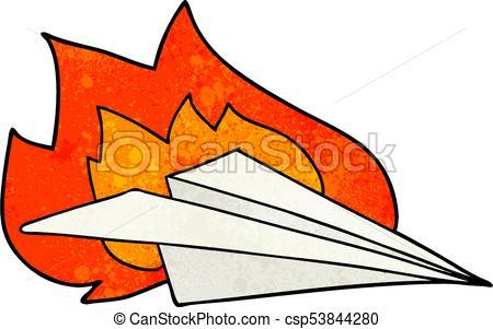 450x301 Cartoon Burning Paper Airplane Vector