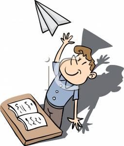 255x300 Clip Art Image A Man At A Desk Throwing A Paper Plane