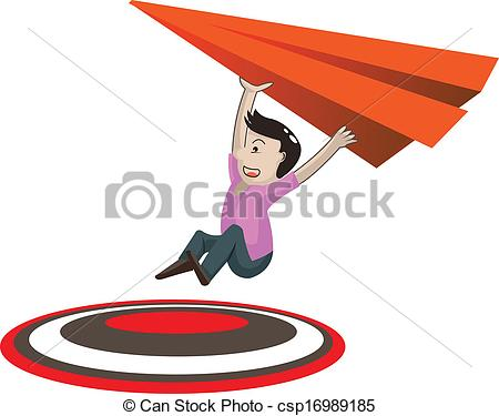 450x375 Man With Paper Airplane Reaching The Target Vector