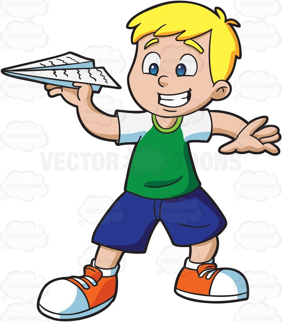 897x1024 A Young Boy Playing With A Paper Airplane Clip Art Kids
