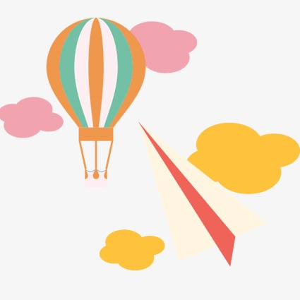 425x425 Balloon Floating, Helium Balloon, Paper Airplane, Clouds Png Image