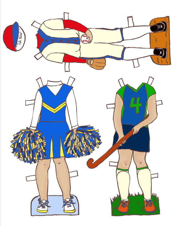 570x738 Girls In Sports Paper Doll Outfits Clothes Pdf Instant