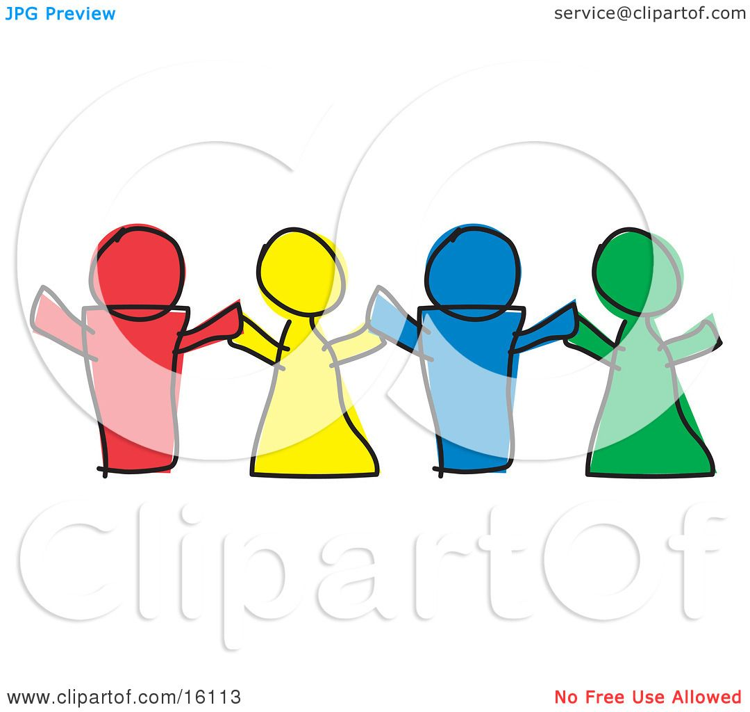 1080x1024 Red, Yellow, Blue And Green Paper Dolls Or Children Holding Hands