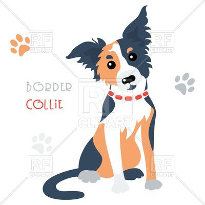 400x400 Cartoon Cute Funny Dog Border Collie Breed Royalty Free Vector