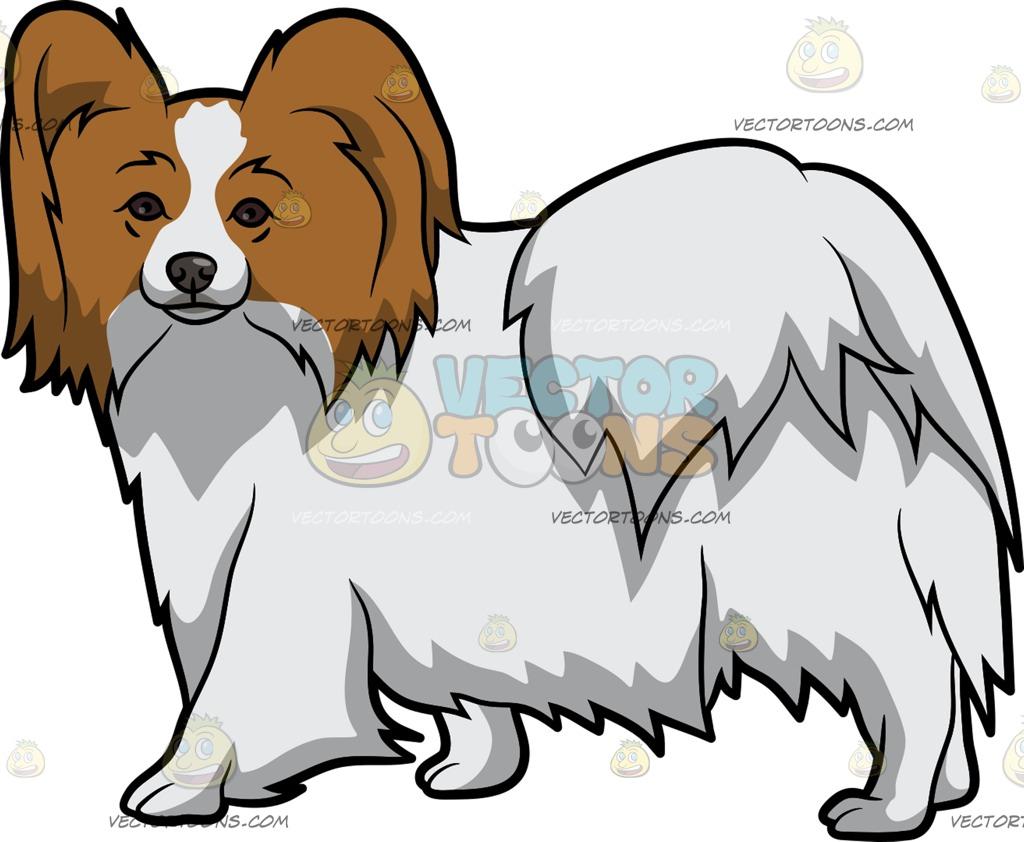 1024x842 A Lovely Papillon Dog Cartoon Clipart Vector Toons