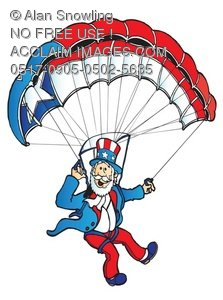 223x300 Clipart Illustration Of Uncle Sam On A Parachute