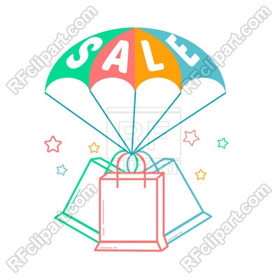 400x400 Icon Of Parachute With Inscription Sale Royalty Free Vector Clip