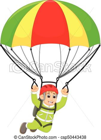 338x470 Vector Illustration Of Funny Skydiving Cartoon In Action Vectors