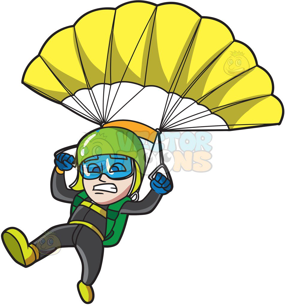 952x1024 A Scared Male Skydiver Cartoon Clipart Vector Toons