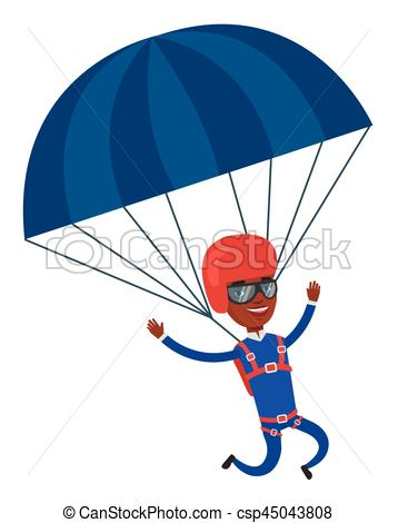 358x470 Young Happy Man Flying With Parachute. African American Man
