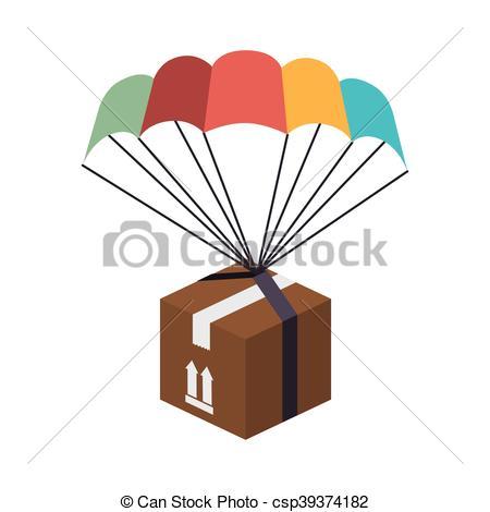 450x470 Box Parachute Delivery. Box Parachute Celebration Gif Vector