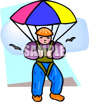 305x350 Clip Art Illustration Of A Boy Skydiving With Birds Flying Around