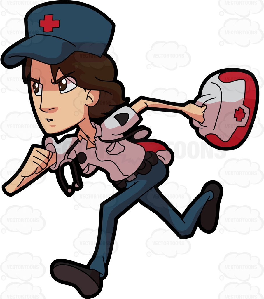 905x1024 A Female Paramedic In A Rush Cartoon Clipart Vector Toons
